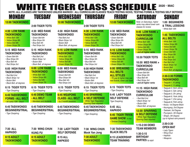 SCHEDULE GREEN STRIPE